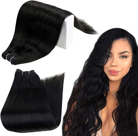 Runature Paquetes De Cabello 41Cm Color 1 Jet Black Natural Human Remy Armadura Del Pelo Of Hair 100G Coser Straight Trama Del Pelo Extensións ...