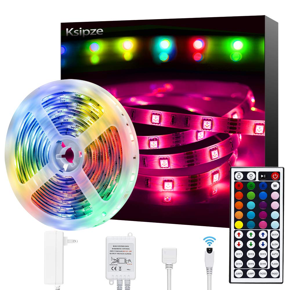 Ksipze Led Strip Lights 16ft RGB Color Changing with 44 Keys Remote for Home Bedroom Kitchen