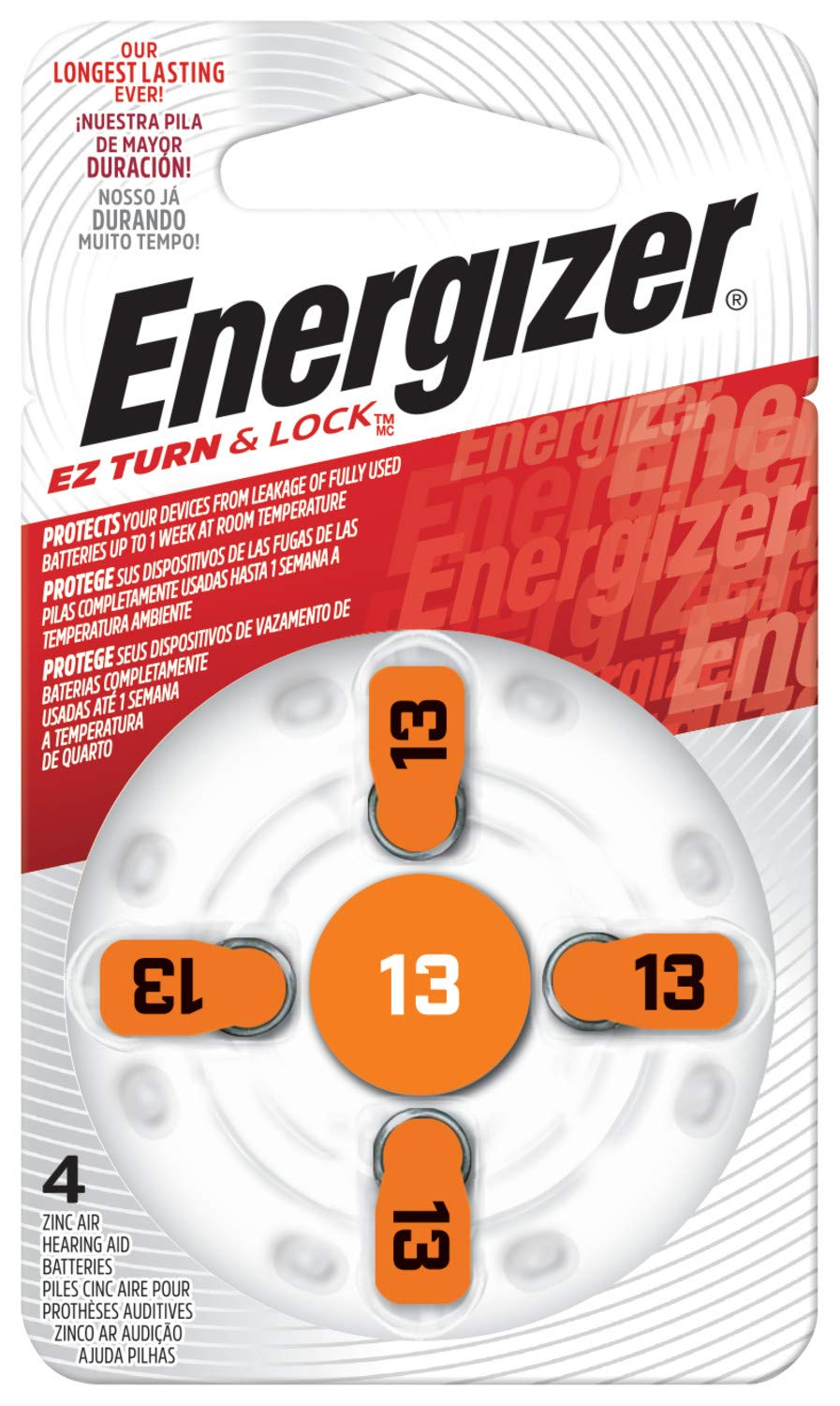 Energizer EZ Turn & Lock Size 13 Hearing Aid Battery, 96-Count by Energizer