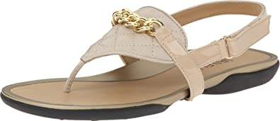 Womens Sandals Vaneli Wenda Ecru Quilted Nappa/Mtch Mag Patent