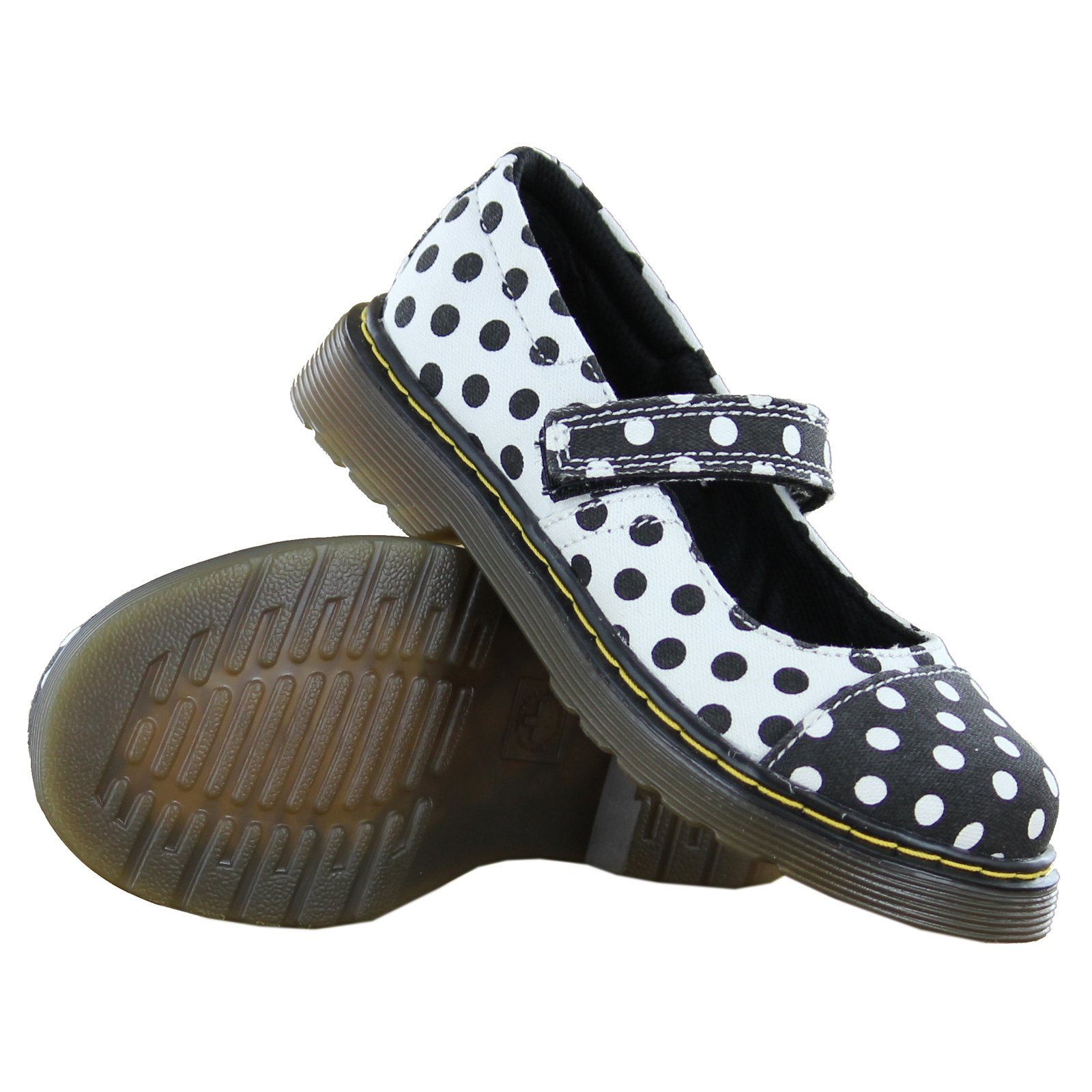 Dr. Martens Kid's Collection Girl's Bijou Toe Cap Mary Jane (Little Kid) Black+White/White+Black Dots Fine Canvas Flat 13 UK (1 US Little Kid) M by Dr. Martens (Image #5)