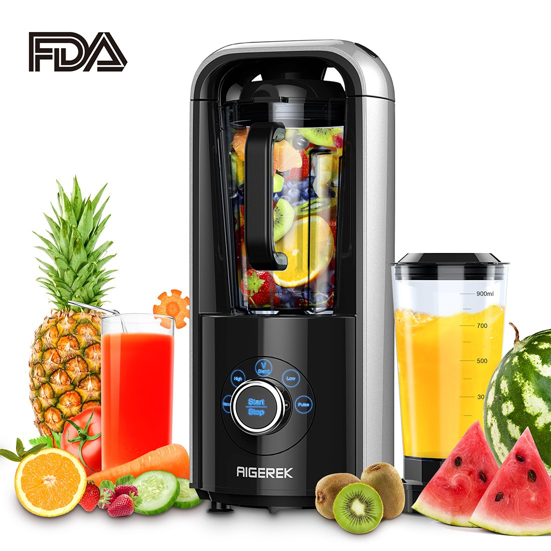 Aigerek Vacuum Blender Antioxidation Function for Ice Fruits Shakes with Recipebook, 1ps Vacuum Cup