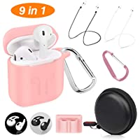 Cuauco AirPods Case Protective Silicone Cover with 2 Anti-Lost Airpods Strap/2 Pairs of Ear Hooks/2 Carabiner/1 Airpods Watch Band Holder/1 Headphone Case for Apple Airpods Accessories (9 Pack)(Pink)