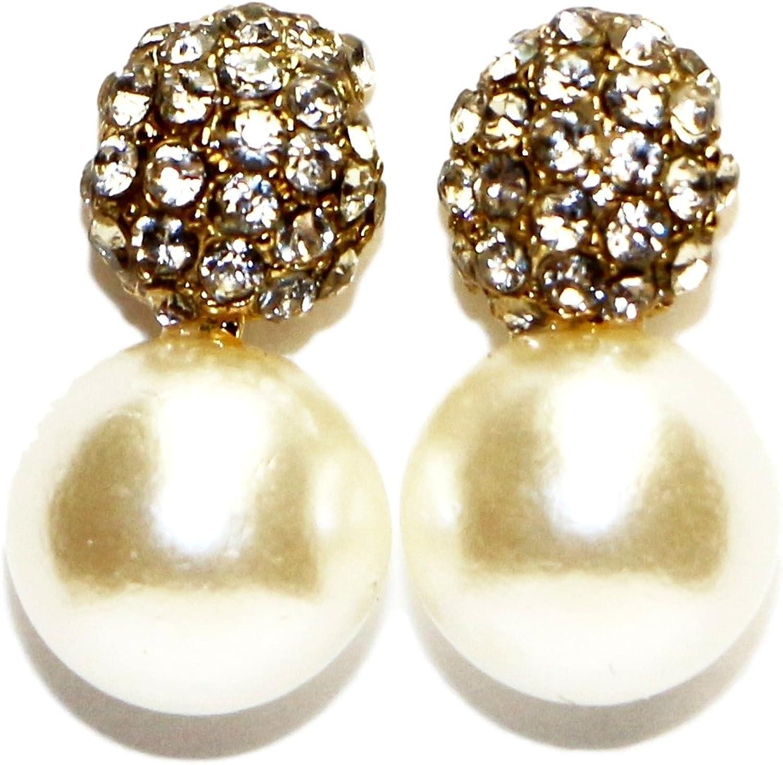La moda de joyas de Acero Quirúrgico rodeado de piedras claras con una perla pendientes del perno prisionero para las mujeres