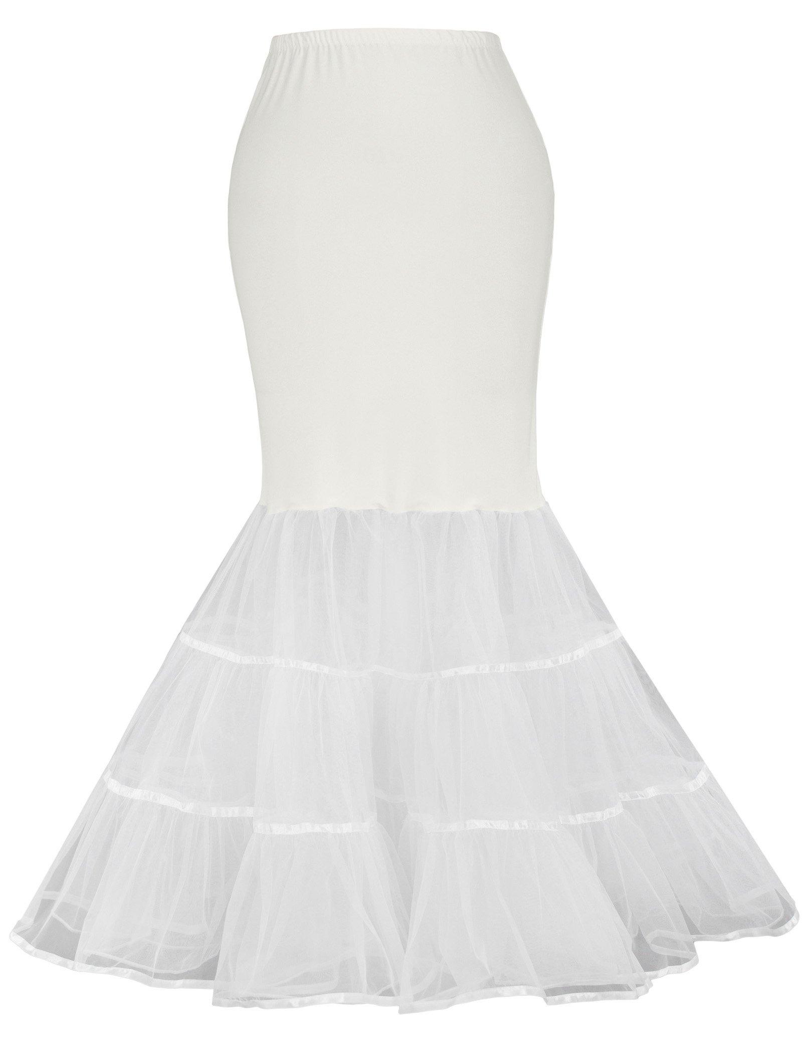 GRACE KARIN 2 Layers Long Victorian Bridal Underskirt Crinoline for Woman(L,Ivory 477)