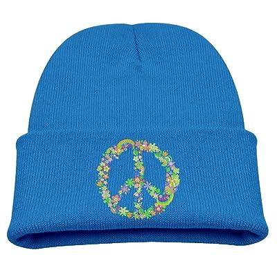 X5dr Caps Hippie Peace Flower Infant Winter Cap Soft Knit Beanie Skull Hat