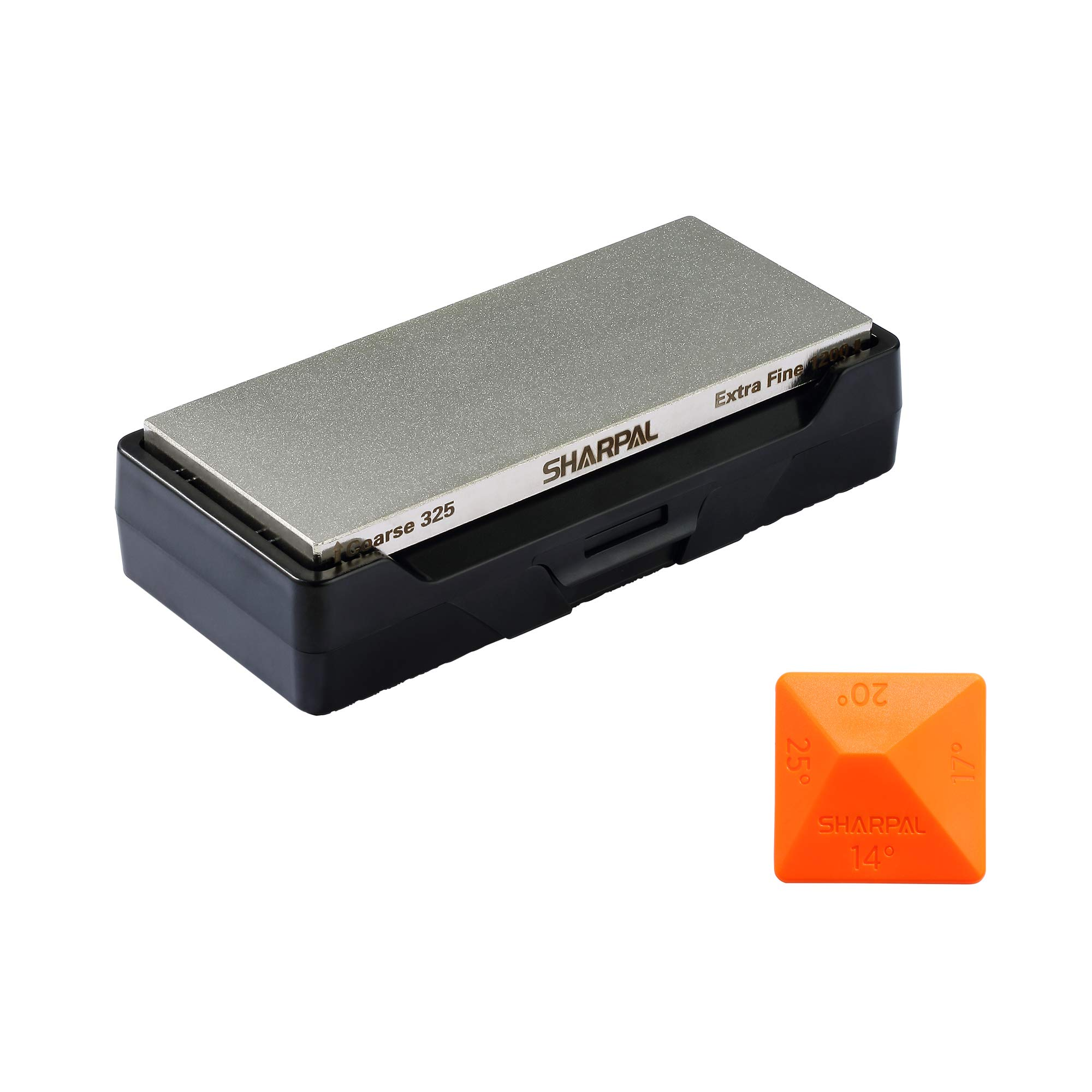 SHARPAL 156N Diamond Whetstone Knife Sharpener with Storage Base   2 Side Grit Coarse 325 / Extra Fine 1200   Diamond Sharpening Stone   NonSlip Base & Angle Guide (6 in. x 2.5 in.)