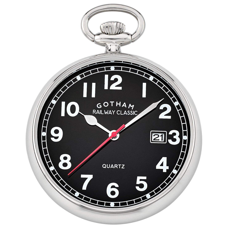 Gotham Men's Silver-Tone Analog Quartz Date Railroad Pocket Watch # GWC14101SB