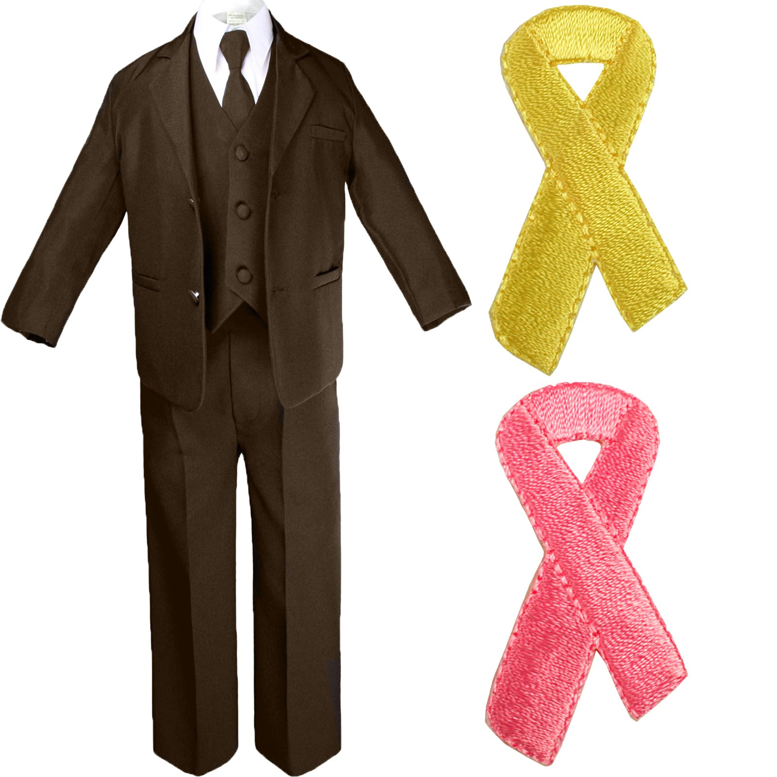 5pc Baby Boy Teen BROWN SUIT w/ Cancer Awareness Ribbon Adhesive LOVE HOPE Patch (2T, Add Yellow Ribbon)