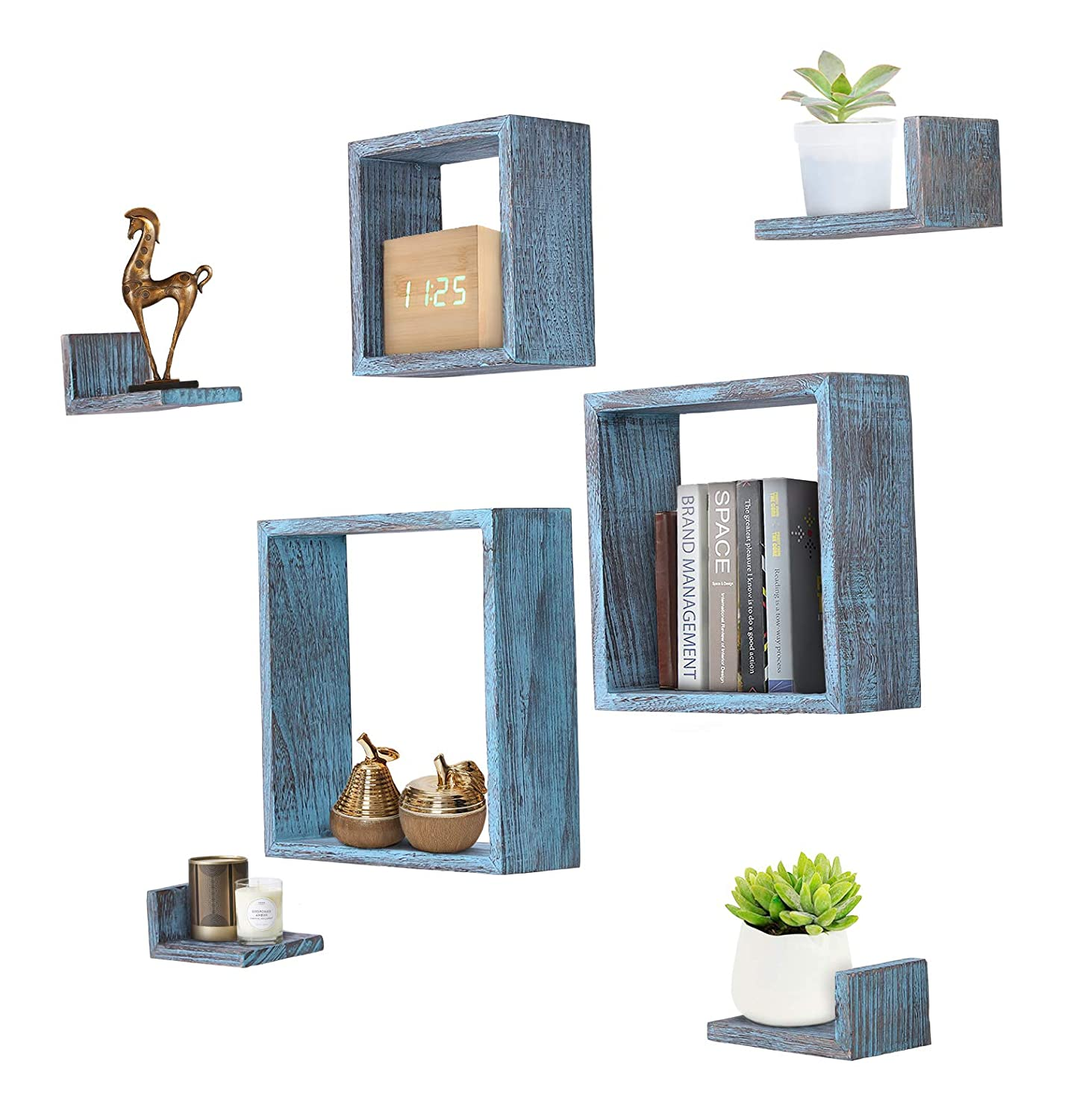 Comfify Rustic Wall Mounted Square Shaped Floating Shelves – Set of 7 – 3 Square Shelves and 4 L-Shaped Rustic Shelves – Screws and Anchors Included – Rustic Wall Décor - Rustic Blue