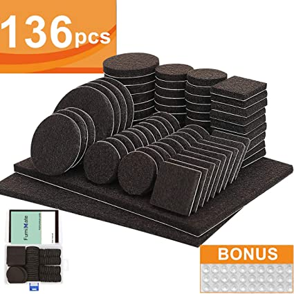 Furniture Pads 136 Pieces Pack Self Adhesive Felt Pads Brown Felt