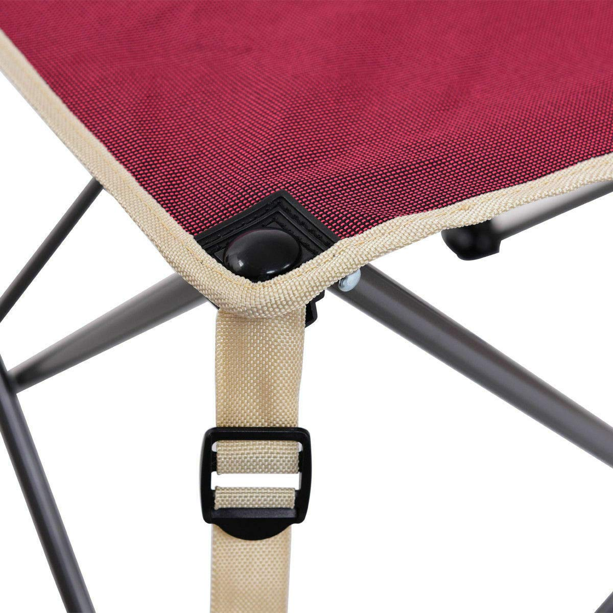 ANA Store Vacations Cookout Party Curl Stand Metal Iron Stell Frame Red Oxford Fabric Portable Folding Table Chairs Set Inside Outside Camp Beach Picnic with Carrying Bag by ANA Store (Image #2)