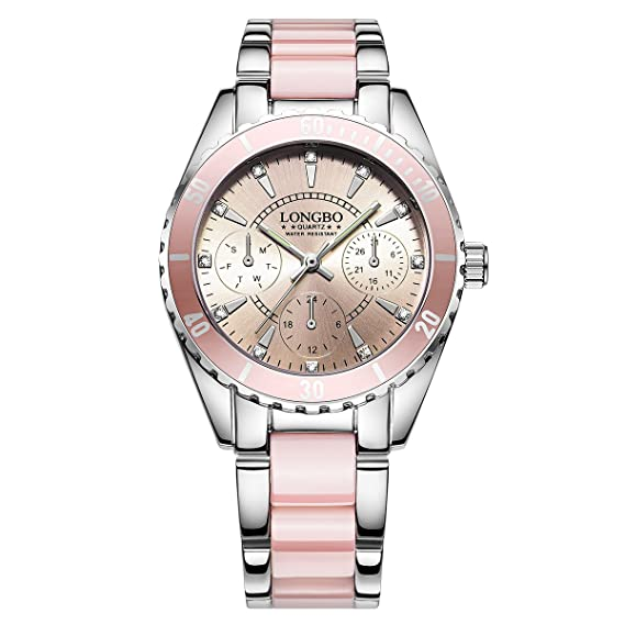 LONGBO Unique Womens Stainless Steel & Pink Ceramic Band Analog Quartz Watch Decorative Chrono Eyes Ladies