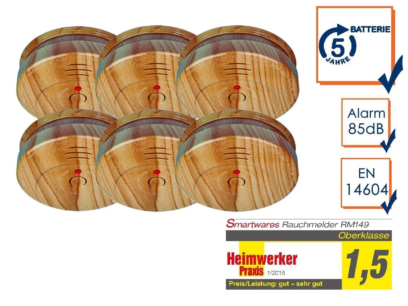 Smartwares 5-Jahres Rauchwarn-// Brandmelder holzoptik RM149H-5 DIN EN14604