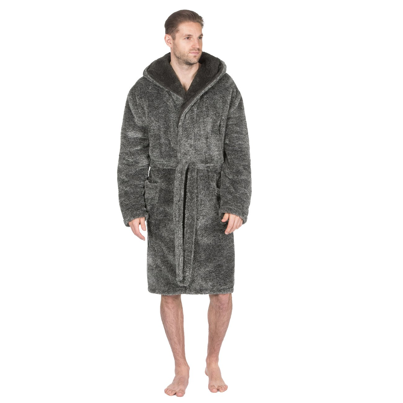 Pierre Roche Mens 2 Tone Snuggle Fleece Dressing Gown - Hooded Robe With Pockets