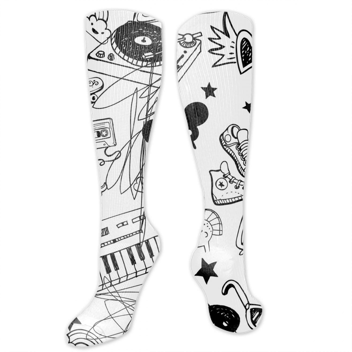 Unisex Art Patterned Casual Crew Socks Musical Note Icon Good for Gift Idea