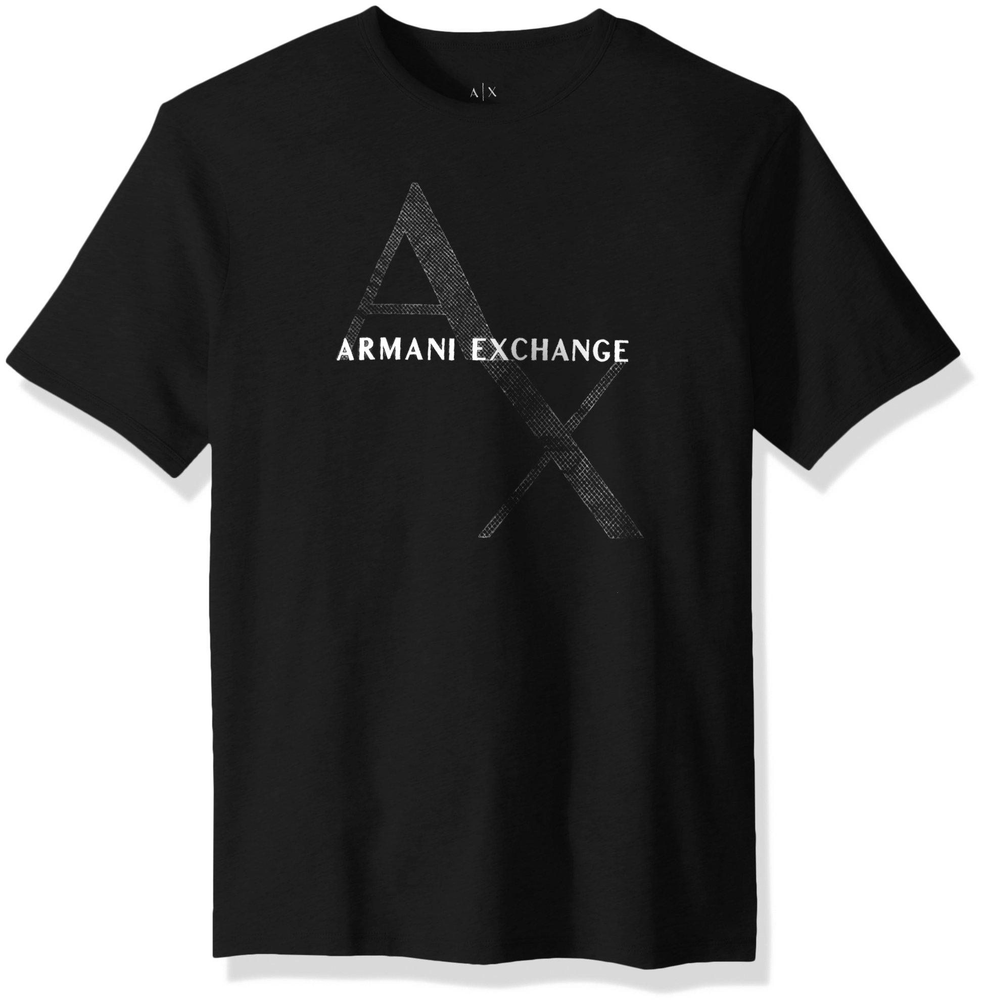 A|X Armani Exchange Men's Tonal and Contrast Logo Core Crew Neck, Black, XXL