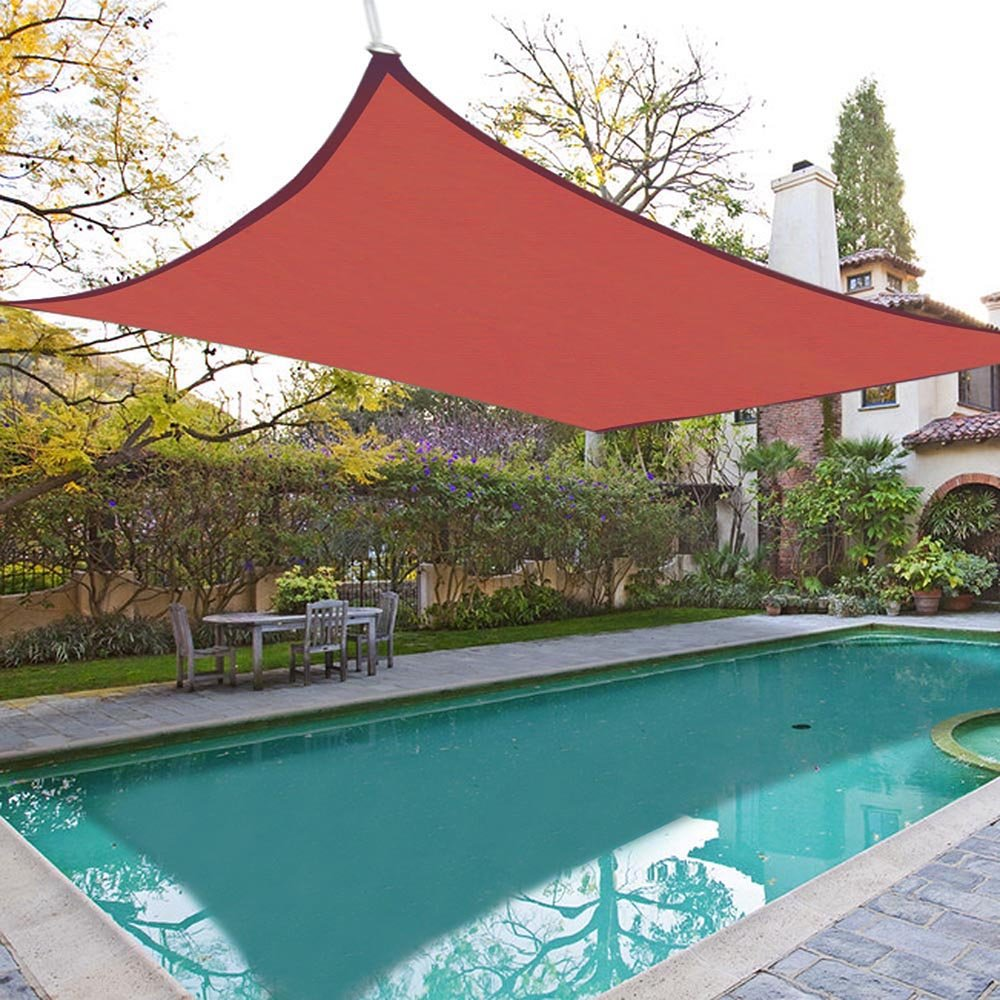 amazoncom yescom 165 ft square sun shade sail top outdoor canopy patio cover red patio lawn u0026 garden - Patio Sun Shades