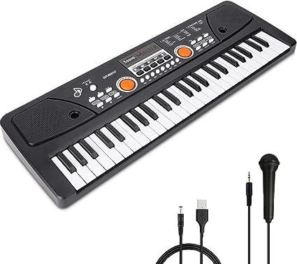 RenFox teclado de piano portátil con 49 teclas, para niños, teclado de piano digital para principiantes, teclado y micrófono, juguete de enseñanza, ...