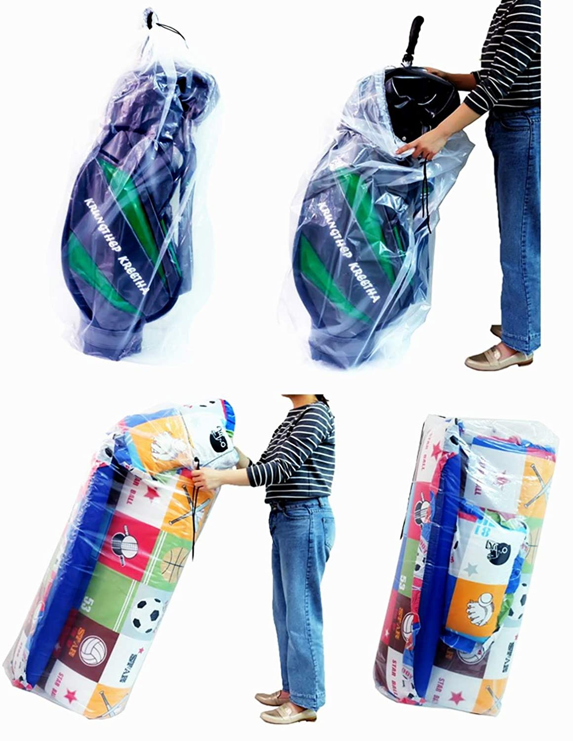 Big Plastic Bags Multi-Purpose Drawstring Bag Set Dust Cover For Keeping Golf's Bag, Picnic Mattress Good for Household Organizing Reusable Set of 2 Sizes