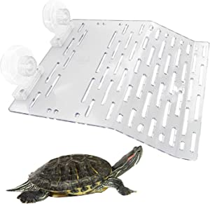 Hamiledyi Turtle Basking Platform Tortoise Resting Terrace Acrylic Plastic Reptile Habitat with 2 Suction Cups for Turtle Fish Tank Aquarium Dock Floating Decor