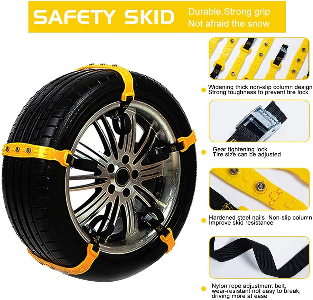 BiBOSS Car Snow Chains 10 Pcs Anti Slip Tire Chains Emergency Traction Security Car Tire Chains Fit for Most SUV Car