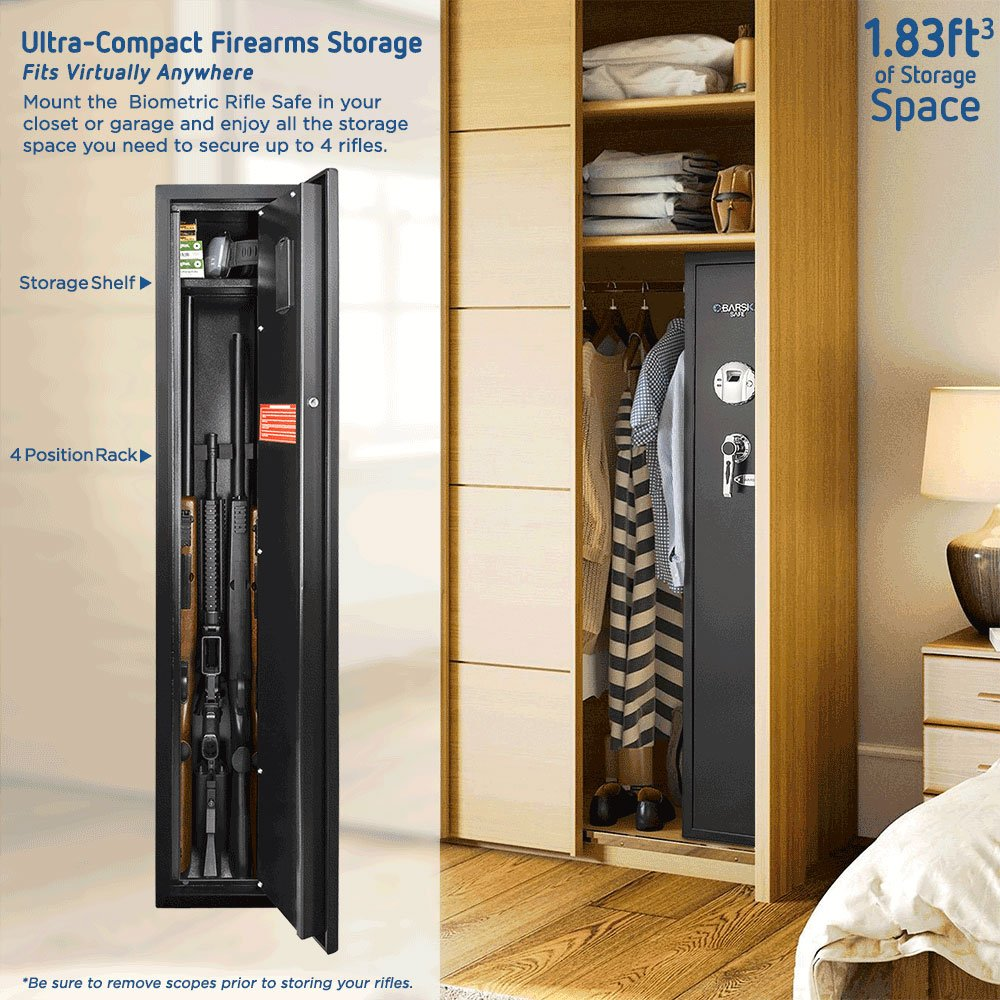 Barska Quick Access Biometric Rifle Safe in a closet