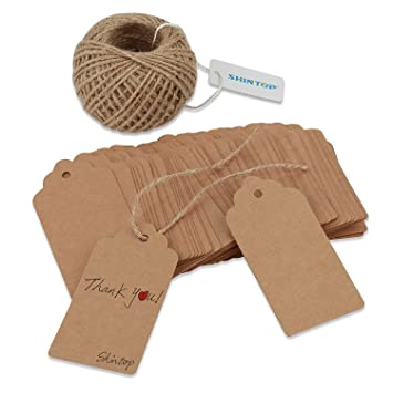 Amazon shintop 100pcs kraft paper gift tags bonbonniere shintop 100pcs kraft paper gift tags bonbonniere favor rectangular gift tags with free 100 feet natural negle Choice Image
