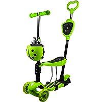 Profiseller Monopattino per Bambini - 5 in 1 con Sedile Rimovibile e Manubrio Regolabile -Regolabile Staccabile Scooter con Ruote Illuminate Regalo Perfetto per Ragazze da 2 a 8 Anni (Verde)