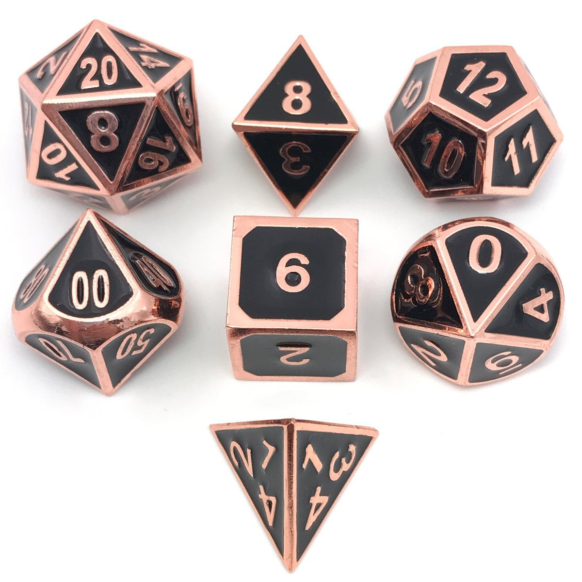 IvyFieldDice Set of Solid Metal Dice – Shiny Copper with Black Enamel Great for Role Playing Games(RPG)