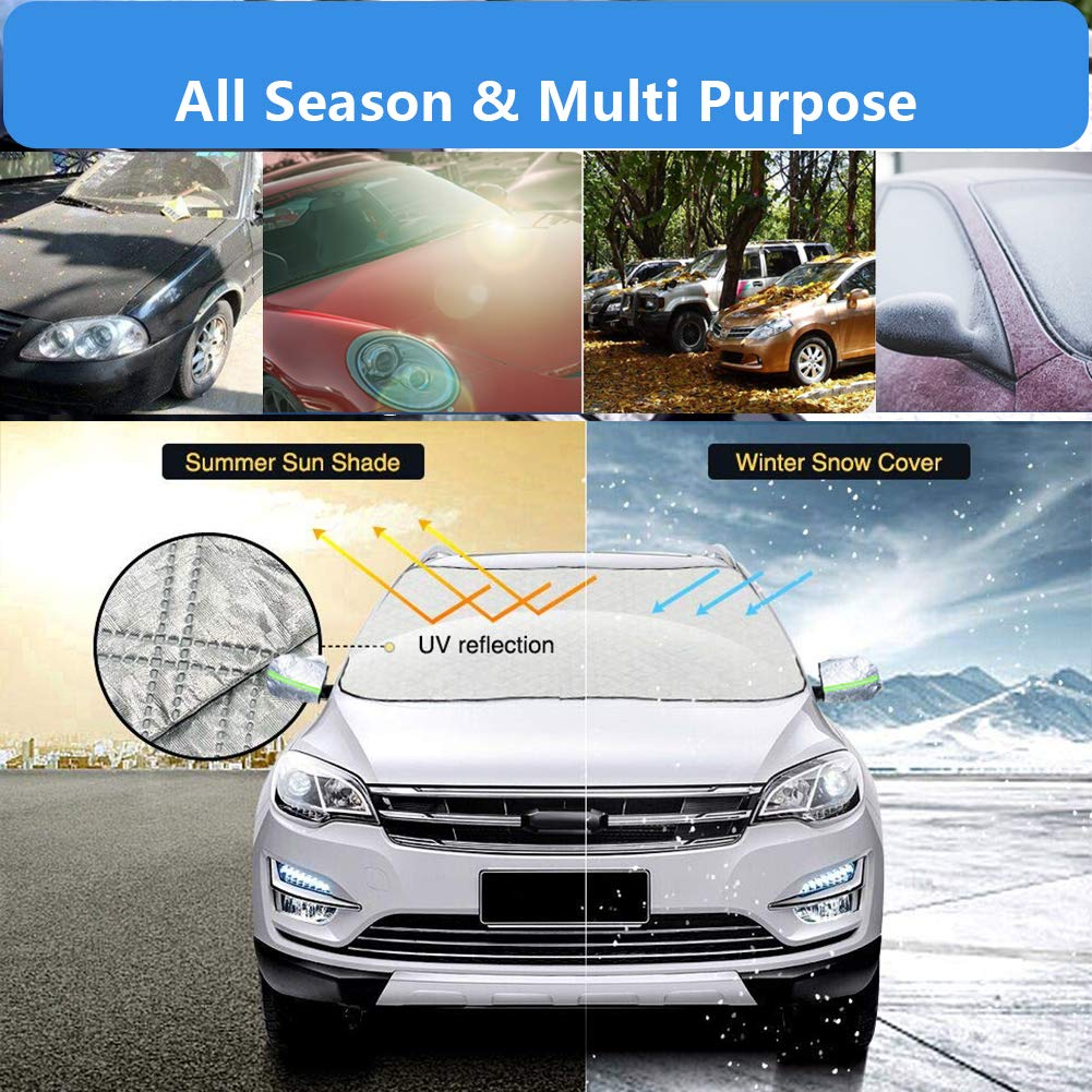 OKAYC Car Windshield Snow Ice Cover with Extra Large Frost Guard Visor Protector All Weather Sun Shade for Car Minivan and SUV with 5 Magnetic L