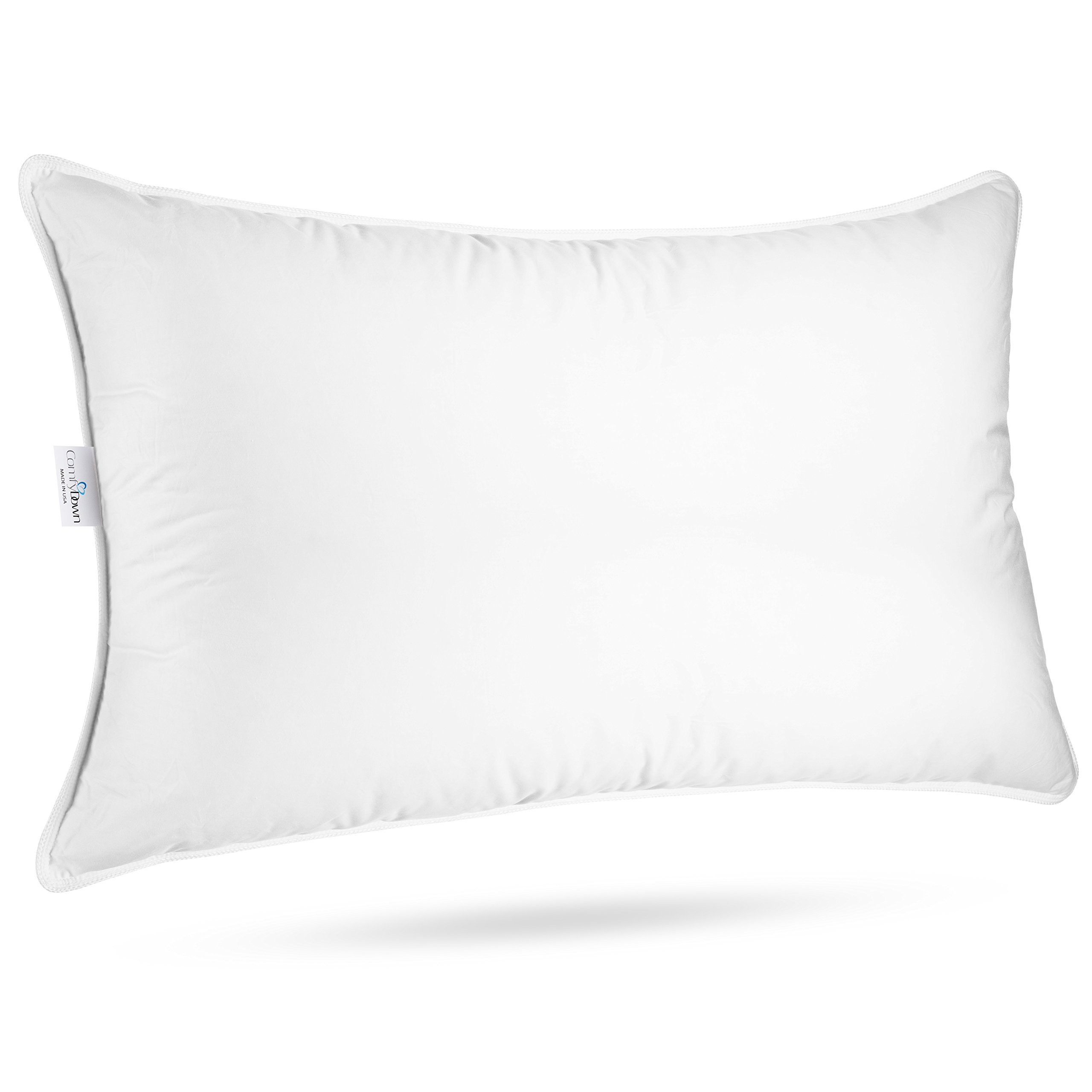 "ComfyDown Sleeping Pillow - European Goose Down, ""SOFT"" Density Pillow, 650 Fill Power, 300-Thread Count Egyptian Cotton Cover - Hypoallergenic, MADE IN USA - (Standard)"