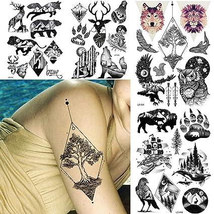 Tatuaje Falso Tatuaje Black Eagle Owls Design Transferencia De ...
