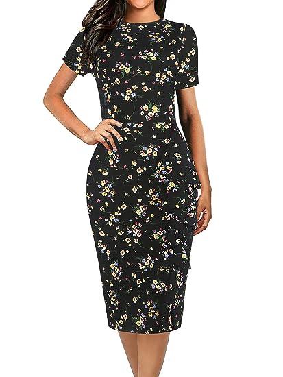 de1c2d61fe8fc oxiuly Women's Vintage Polka Dot Floral Patchwork Stretchy Work Casual  Bodycon Sheath Pencil Dress OX055