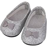 Bling Bling Silver Bownot Shoes for 18inch American Girl Dolls Party Dress