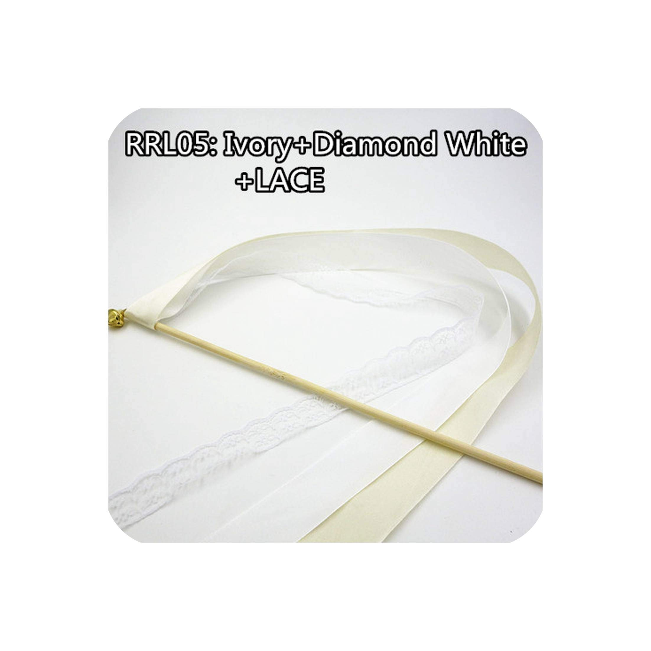 50Pcs Ribbon And Lace Wands Twirling Streamers Wedding Ribbon Stick Streamers Stick With Bell Send Off Bell Wands,Rrl05,White Lace