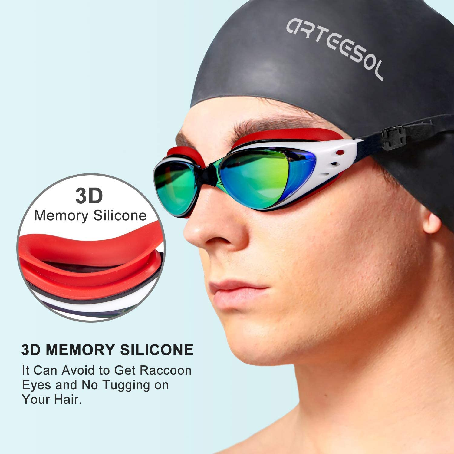 arteesol Swim Goggles Anti Fog Swimming Goggles Crystal Clear 180/° Panoramic Vision Mirrored with 100/% UV Protective Coating with Protective Case and Earplug for Adults and Kids