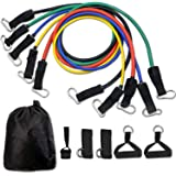 WISTOM 11 pcs Resistance Band Set with 5 Exercise Bands Door Anchor Foam Handles Ankle Straps and Waterproof Carrying Case
