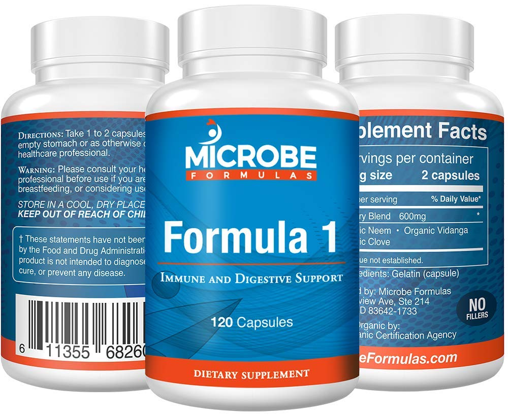 Microbe Formulas: Organic Formula 1- Intestinal Support - 120 Capsules - Organic Supplement - Dietary Supplement - Ayurvedic Medicine - Intestinal Detoxification - Healthy Intestinal Tract by Microbe Formulas