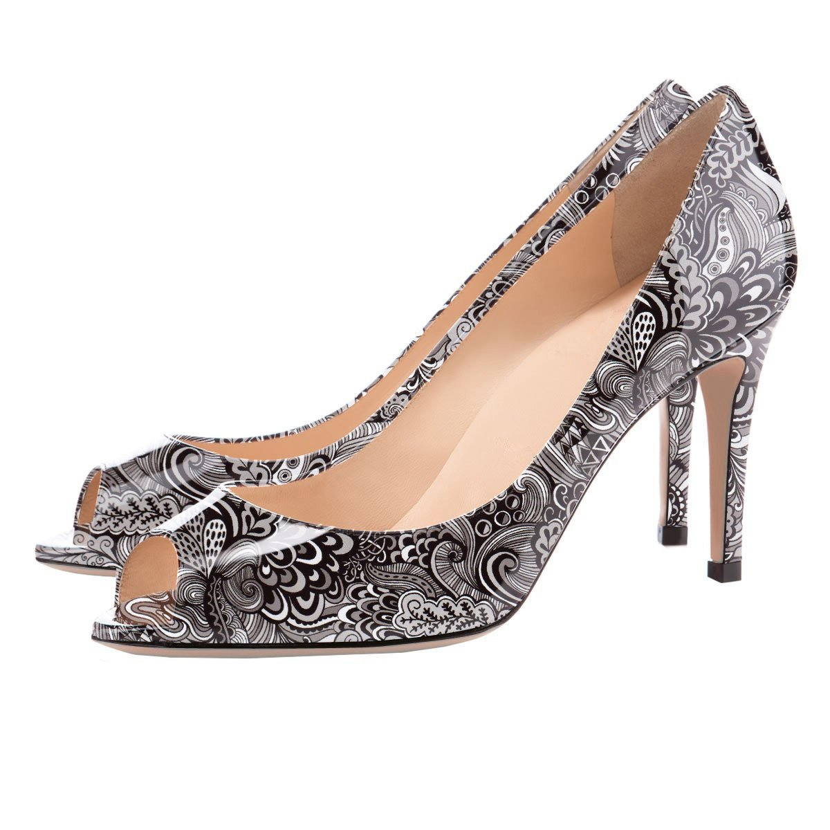 Eldof Women Peep Toe Wedding Pumps Mid-Heel Pumps Formal Wedding Toe Bridal Classic Heel Open Toe Stiletto B07F3VMGC6 12 B(M) US|Gray-pattern 5c014c