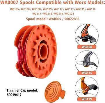Ersatz Spule Set Gras Schneider Abdeckung für Worx 50019417 WG105-WG118 Lot