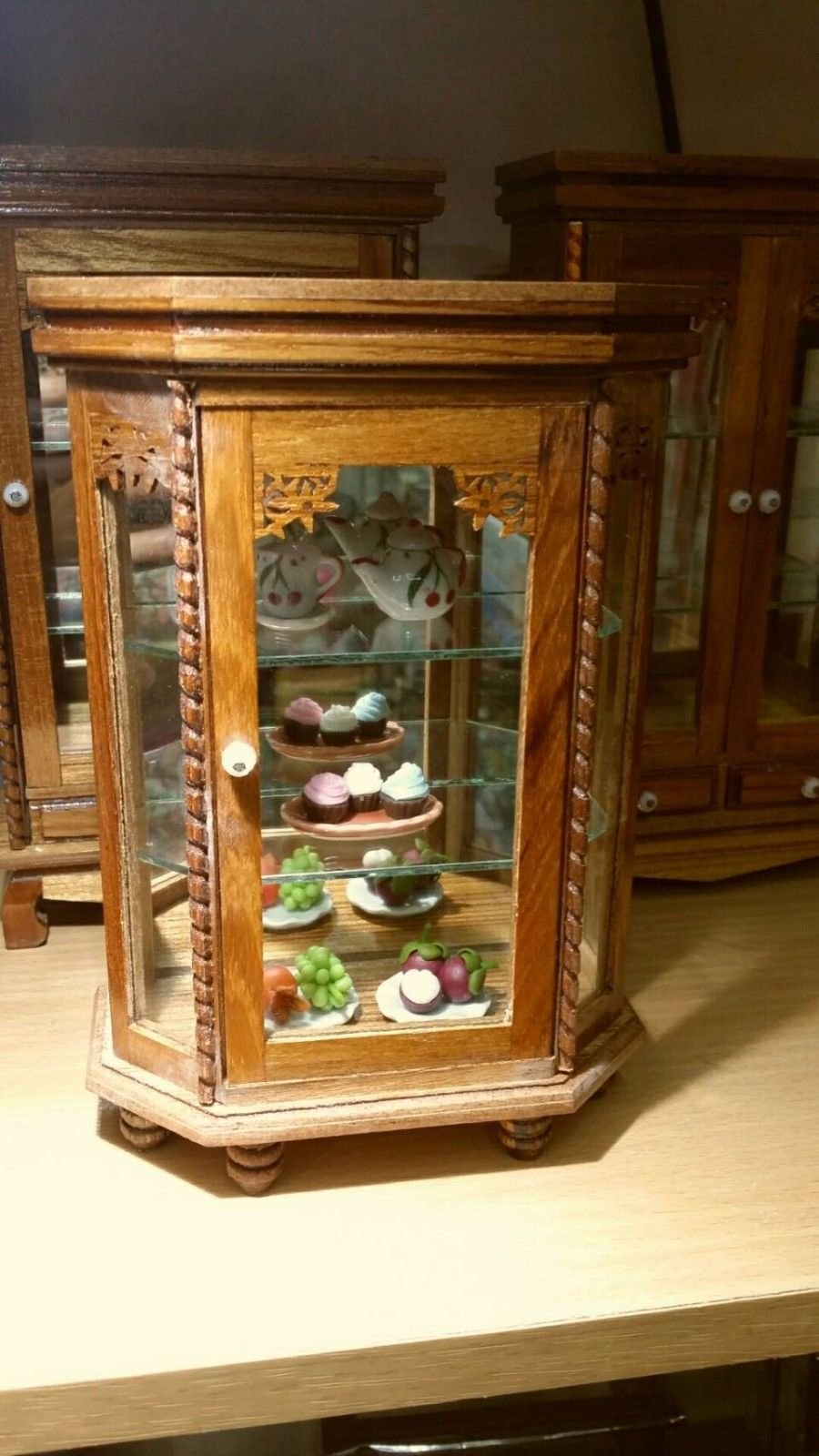 Mini Vintage Cupboard Teak Wood Cabinet Craft Handmade Carved Thai Furniture with 5 Food Models