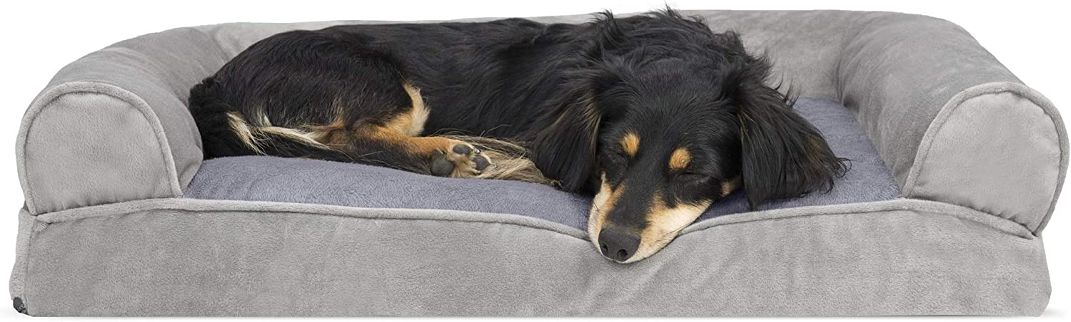 Furhaven Pet Dog Bed - Faux Fur and Velvet Pillow Cushion Traditional Sofa-Style Living Room Couch Pet Bed with Removable Cover for Dogs and Cats, Smoke Gray, Medium : Pet Supplies
