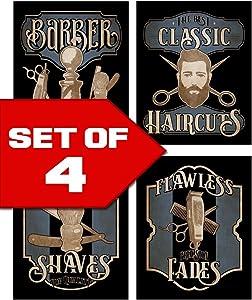 Wallables Barbershop Skills Vintage Barbershop Theme! Four Stylish 8x10 Mens Wall Decor Art Prints Set Great for Bathroom, Barbershop, Bachelor Pad Designed Exclusively
