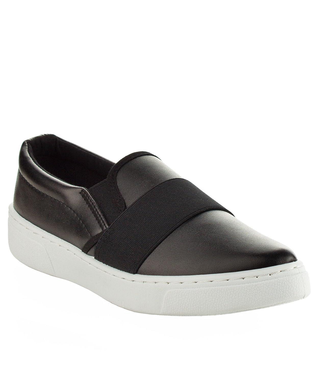 Qupid Women's Fashion Metallic Shiny Slip On Flatform Platform Low Top Sneaker B01N4PDEFL 9 B(M) US|Black
