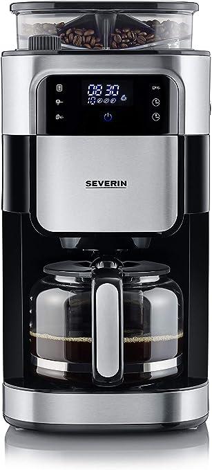 Severin KA 4813 - Cafetera con molinillo, pantalla LED, 1000 W, 1.25 L, color acero inoxidable cepillado y negro: Amazon.es: Hogar