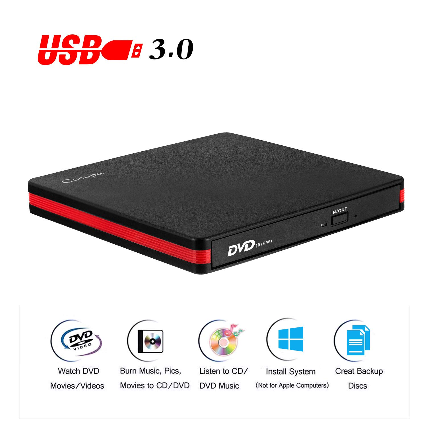 Cocopa External CD DVD Drive USB 3.0 Portable CD DVD +/-RW Drive Slim DVD/CD ROM Rewriter Burner Writer, High Speed Data Compatible with Laptop Desktop MacBook Windows10/8/7/XP/Vista/Mac OS(RED) by Cocopa