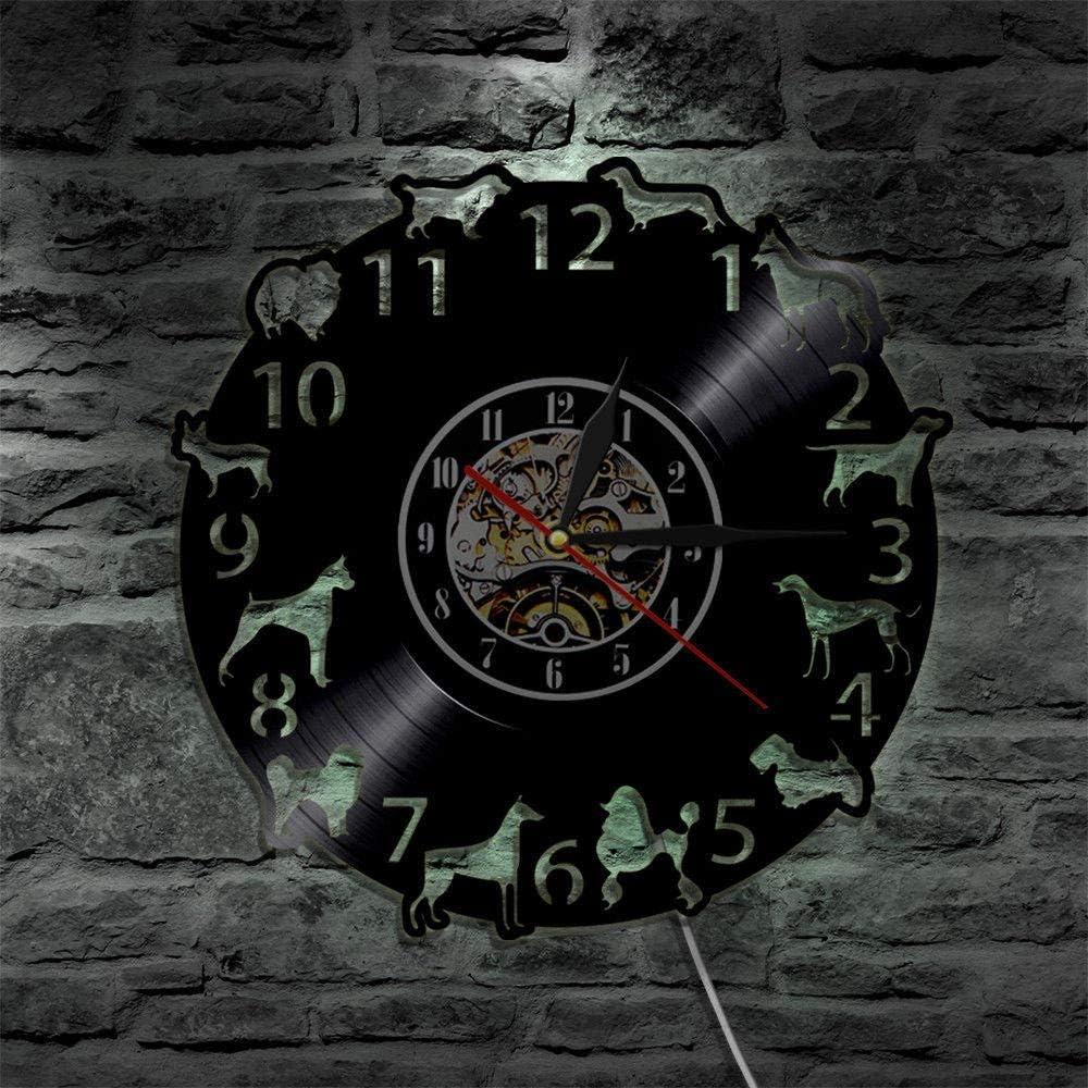 ZDwawz Vinyl Pared Vinilo Record Reloj de LED Creativo Diseño Moderno Relojes de con Registro de Retroiluminación 3D Modelo de Perro Decorativo Reloj clásico de CD Decoración para el hogar
