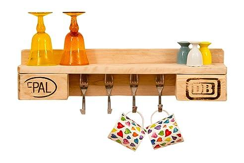 Küchenregal aus europaletten  Küchenregal aus Paletten | rustikal für 4 Tassen | Gabelhaken ...