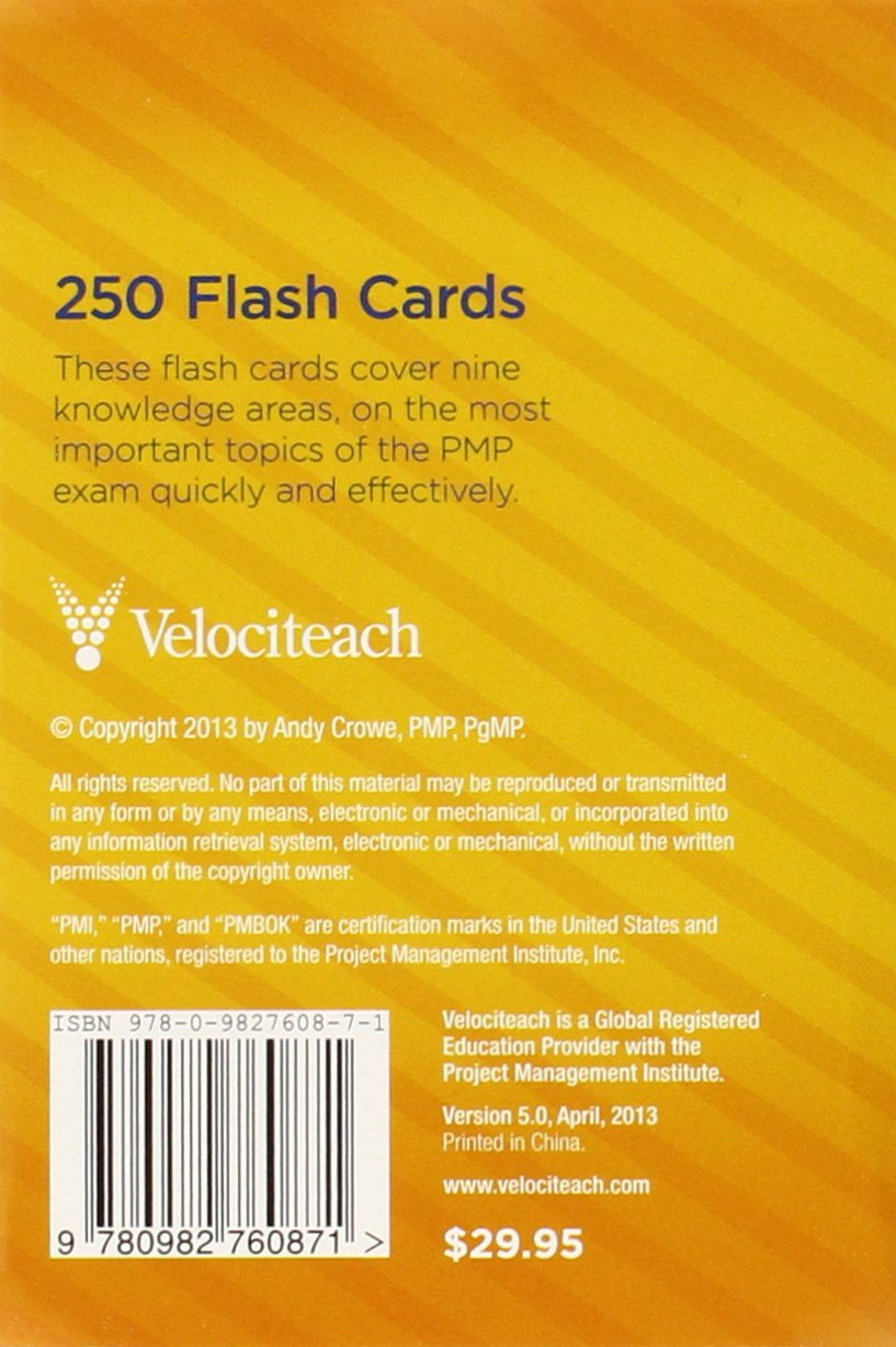 Amazon Velociteach The Pmp Exam Flash Cards Fifth Edition